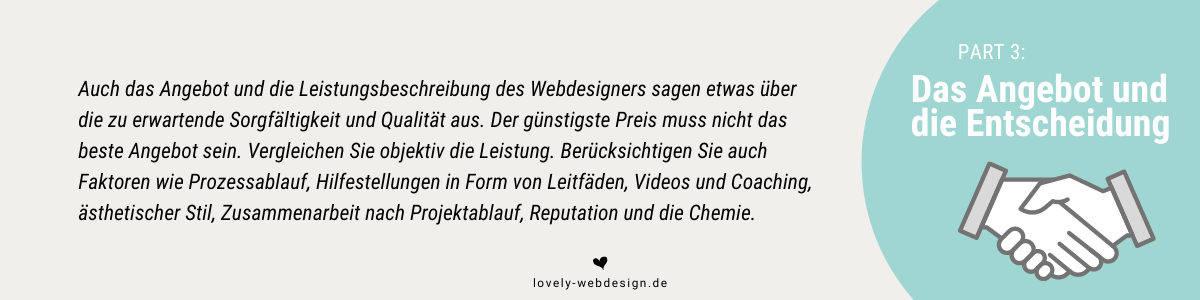 Webdesigner-Auswahl - hier Angebot und Entscheidung