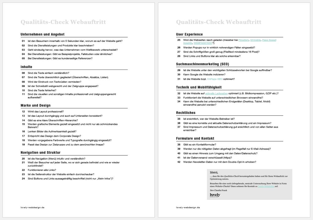 Qualitäts-Check Webauftritt
