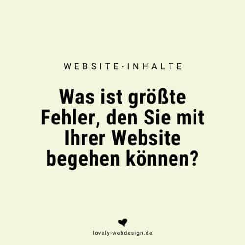 Was ist der größte Fehler, den Sie bei Ihrer Website begehen können?