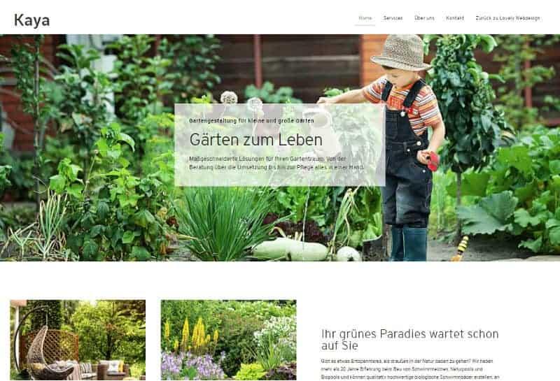 Webdesign für Garten- und Landschaftsbauer - Demo-Seite Kaya