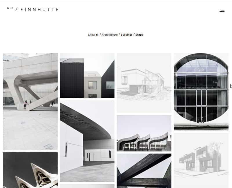 Typische Portfolio-Seite eines Themes - hier als Startseite