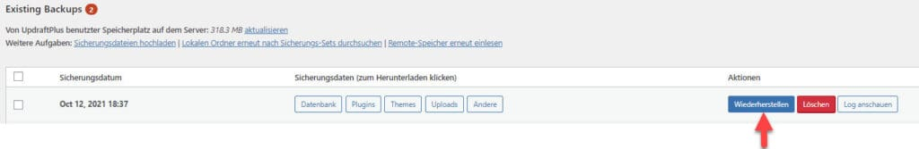 UpdraftPlus - Wiederherstellungs-Schaltfläche (Button)